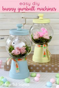 Adorable! Make these bunny gumball machines for your Easter decor or spring decor this year! Click through for the full tutorial and supply list.