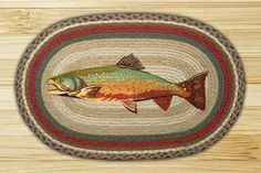 The Trout Jute Rug features a beautiful trout surrounded by a colorful braided border. This braided rug is made from jute fiber that is naturally water repellent, color fast and fire retardant. This cabin r Jute Rug, Woven Rug, Hand Print Images, Oval Rugs, Braid Designs, Rainbow Trout, Rainbow Food, Rainbow Brite, Braided Rugs