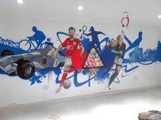 Graffiti mural for home / games room - hand painted sport inspired design  #graffitidesign #interior design #home