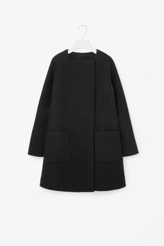 COS image 4 of Square-neck A-line coat in Black