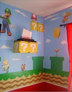Super Mario Bros Bedroom (the next time we move! Super Mario Room, Super Mario Birthday, Chambre Nolan, Console Style, Nintendo Room, Deco Gamer, Brothers Room, Gamer Room, Mario And Luigi