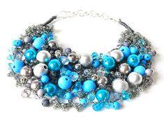 3563 drehte Halskette, Halskette, grau, blau, Silber, jeden Tag, für ein Geschenk, für eine Party,