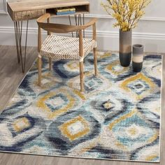Safavieh Monaco Blue/ Multi Rug (6' 7 x 9' 2)   Overstock.com Shopping - The Best Deals on 5x8 - 6x9 Rugs