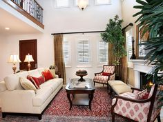 cream and red living room