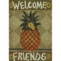 Welcome Friends Pineapple Garden Flag