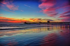 Low Tide Reflections at Sunset in Oceanside
