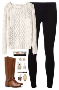 """chunky knit"" by classically-preppy ❤ liked on Polyvore featuring Tory Burch, James Perse, Band of Outsiders, Essie, NARS Cosmetics, Michael Kors, Bobbi Brown Cosmetics, Kate Spade, women's clothing and women"