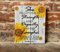 Sunflower Nursery, Sunflower Room, Sunflower Kitchen Decor, Sunflower Bathroom, Sunflower Quotes, Sunflower Crafts, She Is Clothed, Fall Crafts, Wall Canvas