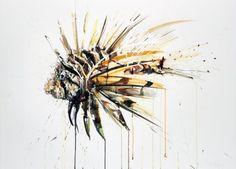 Dave White – Aquatic @ Lawrence Alkin Gallery, London - Lion Fish 2013 Watercolour on Fabriano Artistico 610gm (76 x 56 cm)