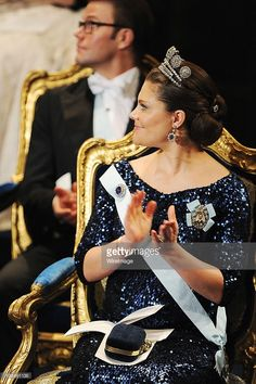 Crown Princess Victoria's blue gown was made to complement pieces of the Leuchtenberg Sapphire Parure, one of the sets of jewels that Queen Silvia usually keeps reserved for her own use. Victoria did not wear the tiara, but she started slow with the earrings, brooch, and hairpins, and paired them with the Six Button Tiara.
