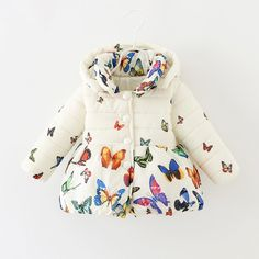 Купить товар Winter baby girls coats 6 24months thick cotton butterfly printing coat baby clothing GC144 newborn outerwear 2015 new arrival в категории Куртки и пальто на AliExpress. 2015 new arrival Baby girls sets letter cotton strap suit Korea kids clothes child sets open crotch wholesale GD-195USD