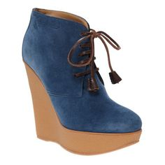 Blue Suede Wedge Heeled Ankle Boots, perfect for adding a colour pop #LFW #MaxMyStyle
