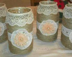 3 arpillera rosa y encaje cubiertos vasos tarro de masón