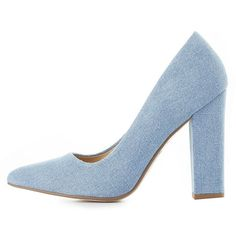 Not Just A Pump Denim Pointed Toe Pumps ($25) ❤ liked on Polyvore featuring shoes, pumps, light blue, chunky shoes, light blue shoes, pointy toe shoes, pointed toe pumps and denim pumps