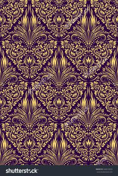 #Damask seamless #pattern repeating #background. Golden purple floral ornament in baroque style.