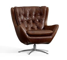 Wells Leather Swivel Armchair, Polyester Wrapped Cushions, Leather  Statesville Caramel. Furniture ChairsArm ...