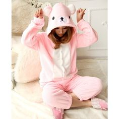 NEW 2015 Adult Rilakkuma Costume Onesies Pink Relax Bear Cosplay... ❤ liked on Polyvore featuring costumes, adult pokemon costumes, sexy animal costumes, adult animal costumes, adult costume and cosplay costumes