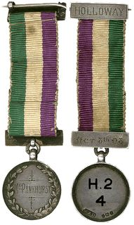 """There was also a Hunger Strike Medal, a bar pin, inscribed """"For Valour."""" Two of the three that still exist belonged to Mrs. Pankhurst and Lady Constance Lytton."""