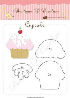 Atelier - Boutique D 'Caroline: Cast and Cupcake tags - Free Felt Diy, Felt Crafts, Diy And Crafts, Crafts For Kids, Paper Crafts, Felt Templates, Applique Templates, Applique Patterns, Felt Patterns