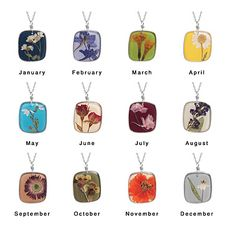 #DBBridalStyle        You've heard of birthstones, but did you know there's a flower that celebrates your birth month? A unique and graceful way to fete a birthday, these luscious bouquets keep individuality in full bloom with 12 different dried, pressed flowers showcased in a resin pendant.