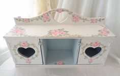 LOVELY TABLE or WALL SHELF hp rose chic shabby vintage cottage hand painted pink #VINTAGE #COTTAGECHIC