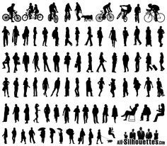Free Vector Silhouettes of People Standing, Sitting, Walking Free Vector
