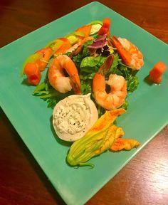 Roasted Shrimp & Arugula Salad w/ Heirloom Tomatoes, Watermelon, Buratta Cheese, Squash Blossom & Basil Vinaigrette