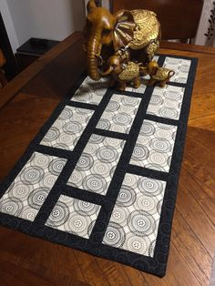 Brick road. 18x36 quilted table runner.