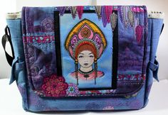 Hand made messenger bag created with Katya printed fabric panel (hand coloured) and stamps from Chocolate Baroque. Fabric Strips, Fabric Panels, Free Machine Embroidery, Hand Embroidery, Book Binding Glue, Rubber Stamp Company, Craft Stash, Glitter Paint, Metallic Colors