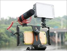 Phone Camera Video Cage Stabilizer Rig for Smartphone LED Light Microphone Glow Party Supplies, Samsung Camera, Smartphone, Photo Equipment, Photo Accessories, Iphone, Just Do It, Photo Studio, Rigs