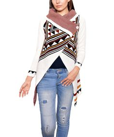 Look at this Ivory Tribal-Geo Button-Collar Cardigan on #zulily today!
