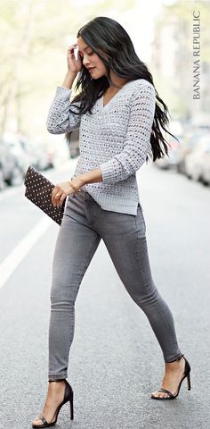 Heather gray top on charcoal gray jeans