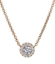 Want this Diamond Halo Necklace in Rose Gold