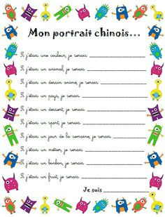Portrait chinois French Verbs, French Grammar, Beginning Of School, First Day Of School, Back To School, French Flashcards, French Worksheets, French Teaching Resources, Teaching French