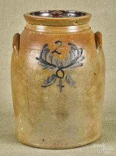 New Jersey two-gallon stoneware crock, 19th c., impressed Union Pottery Newark N.J.J. Zipf Prop's - Price Estimate: $80 - $120