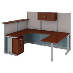 Bush Business Furniture Reception 4 Piece U Shape Desk Office Suite With Storage Finish