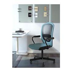 IKEA - FLINTAN / NOMINELL, Bureaustoel met armleuningen, turkoois, , Je kan met een perfecte balans achteroverleunen omdat het schommelmechanisme de weerstand automatisch aanpast aan je gewicht en de beweging.Doordat de stoel in hoogte verstelbaar is, zit je comfortabel.Je rug krijgt steun en wordt extra ontlast door de ingebouwde lendensteun.Betere stabiliteit met de vergrendelbare schommelfunctie.Het netmateriaal van de rugleuning is luchtdoorlatend; comfortabel voor de rug als je lang…