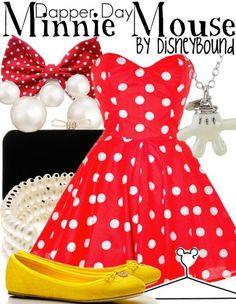 Disney Bound - Minnie Mouse ~ Dapper Day ~ Mickey Mouse Co. Moda Disney, Disney Mode, Disney Themed Outfits, Disney Dresses, Disney Clothes, Cute Disney, Disney Style, Disneybound Outfits, Disney Inspired Fashion