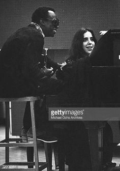 Singer/songwriter Laura Nyro records in the studio with Jazz trumpet player Miles Davis on July 16, 1969 in New York City, New York.