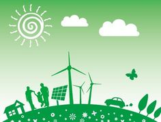 Vector Illustration of Green Energy Concept For Environmental Protection