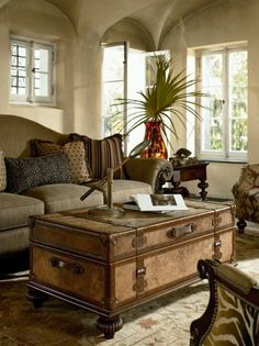 I love the use of this vintage trunk in the design of the room. The use of campaign furniture is important in the british colonial design.