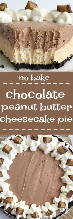 won't believe how easy this {no bake} chocolate peanut butter cheesecake pie is to make! Uses a premade Oreo crust, filled with a creamy peanut butter cheesecake, and then topped with a layer of creamy chocolate cheesecake. Only takes minutes to make No Bake Desserts, Easy Desserts, Delicious Desserts, Dessert Recipes, Health Desserts, Pie Dessert, Dinner Recipes, Baking Desserts, Health Foods