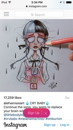 Alefvernonart CRYBABY Tim Burton Drawings Style, Tim Burton Style, Tim Burton Art, Melanie Martinez, Doodle Drawings, Drawing Sketches, Estilo Tim Burton, Cartoon People, Black Girl Art
