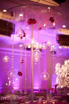 Hanging glass balls with hanging jewels