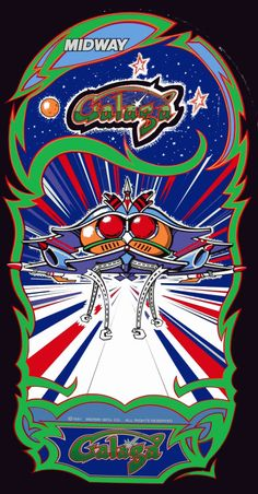 "The ""Galaga"" side art found in the arcade cabinet. Designed by Shigeru Yokoyama. Game created by Namco and published by Midway Games in 1981 (US release). Vintage Video Games, Classic Video Games, Retro Video Games, Vintage Games, Midway Arcade, Midway Games, Borne Arcade, Bartop Arcade, Retro Arcade Games"