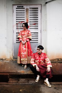 Bride and groom in traditional Chinese kuas and gold sneakers // Keeping It Cool in Kua: Amos and Laura's Engagement Shoot {Facebook and Instagram: The Wedding Scoop}
