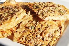 phyllo dough crackers with seeds