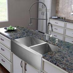 VIGO Kitchen Sink VG15267 All In One 36 In Bingham Stainless Steel Double