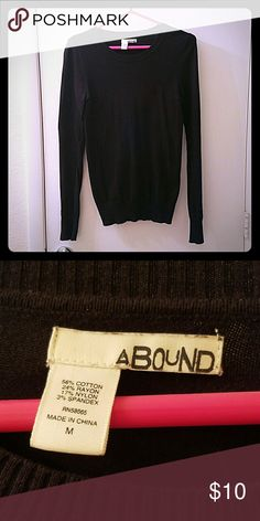 Black sweater Plain black Abound sweater, not too tight, not too loose.  Crew neck.  Light sweater material.  Size medium. Abound Sweaters Crew & Scoop Necks