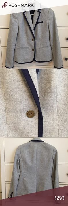 Tommy Hilfiger grey blazer Preppy grey wool blazer with navy blue piping and deep gold buttons Tommy Hilfiger Jackets & Coats Blazers